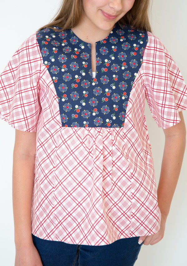Gingham Girls Spring Boho Blouse