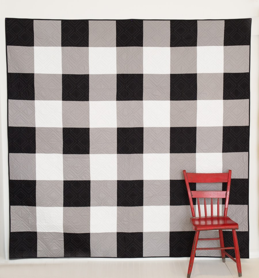Black and White Gingham Quilt Kit