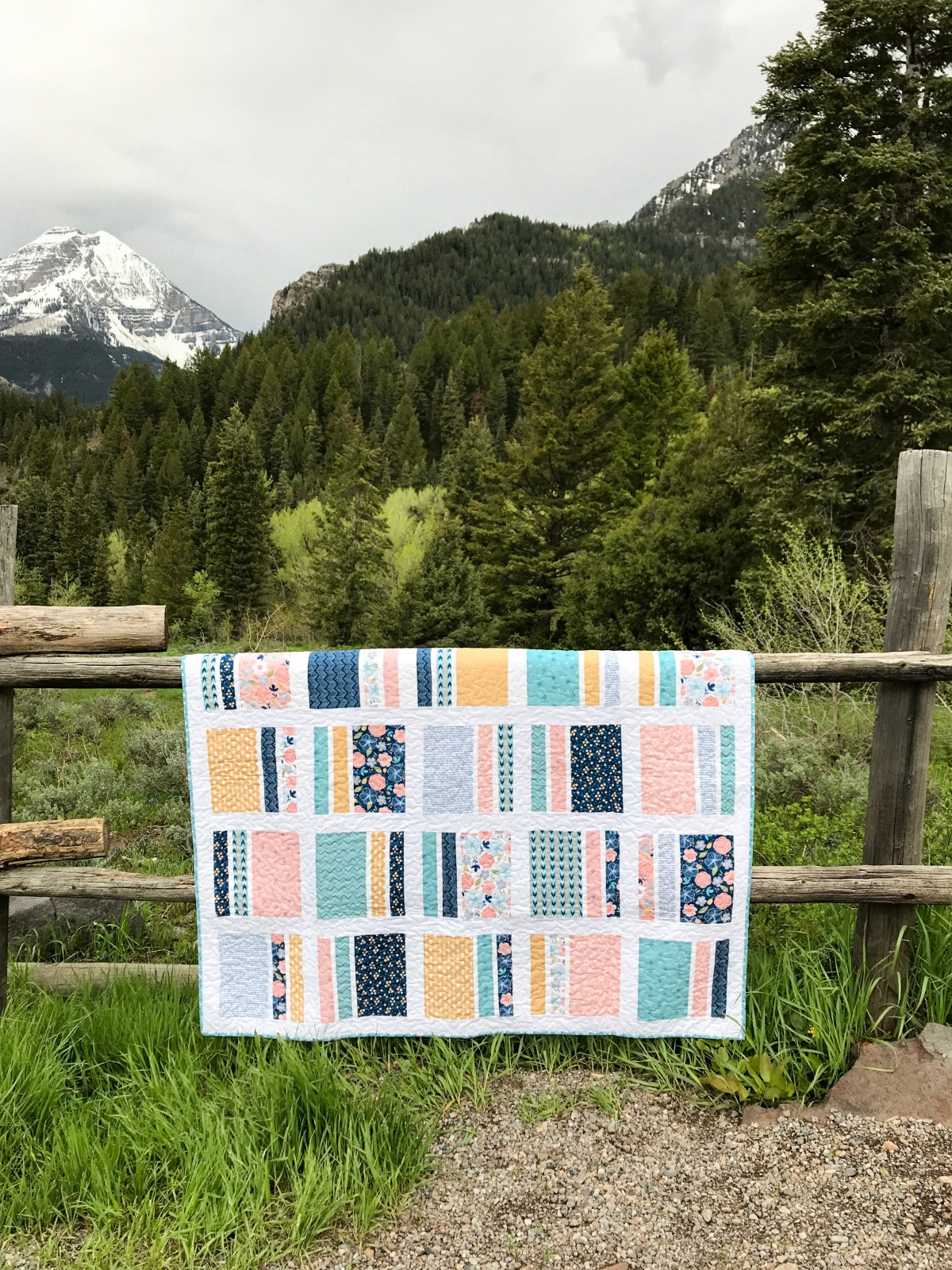 Peaches N' Cream Quilt in Azure Skies Whole quilt