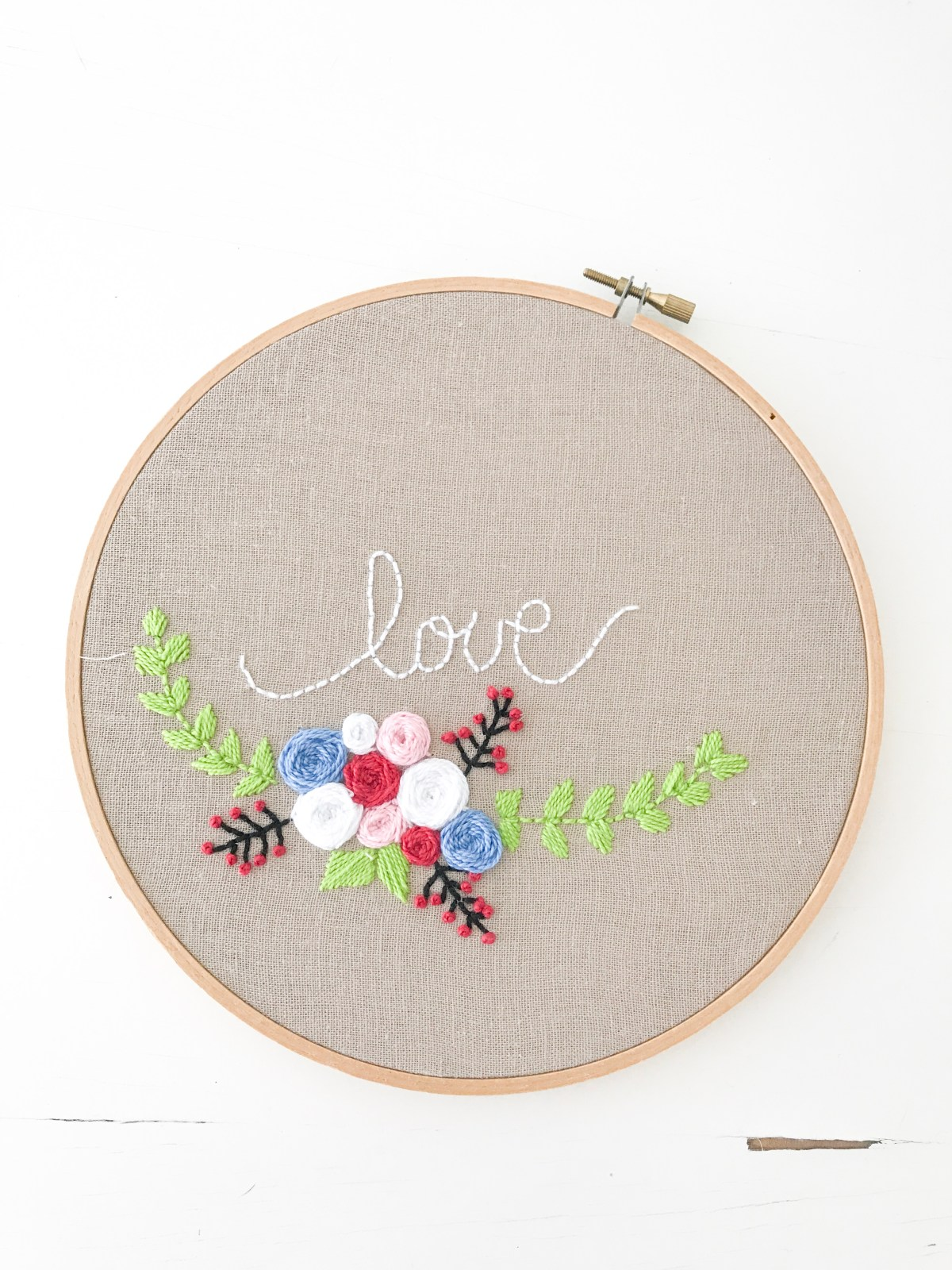 Love Embroidery Pattern finished