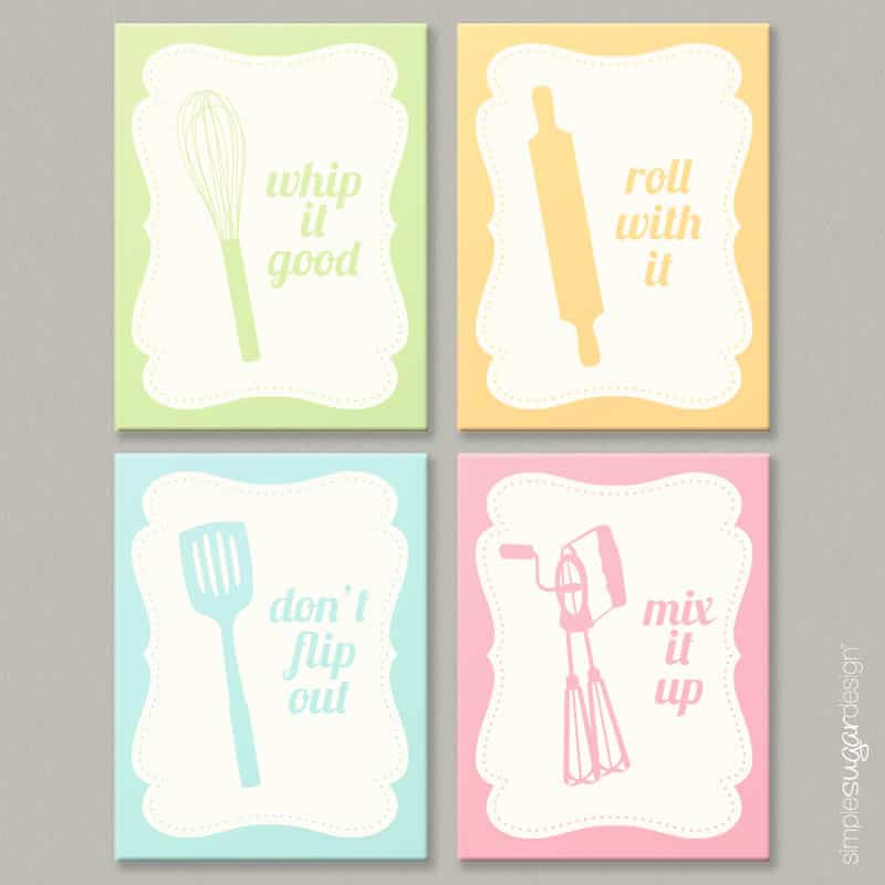 kitchen art prints mobile home sink new introducing cheeky simple sugar canvas set