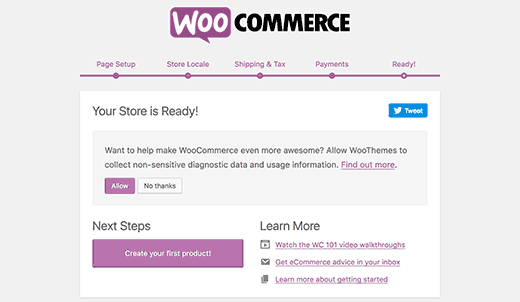 installation woocommerce terminée