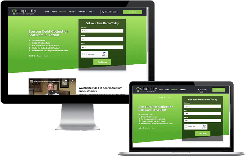 Image is of a desktop and laptop displayed side-by-side with Simplicity's Free Demo page from their website displayed on the viewports.