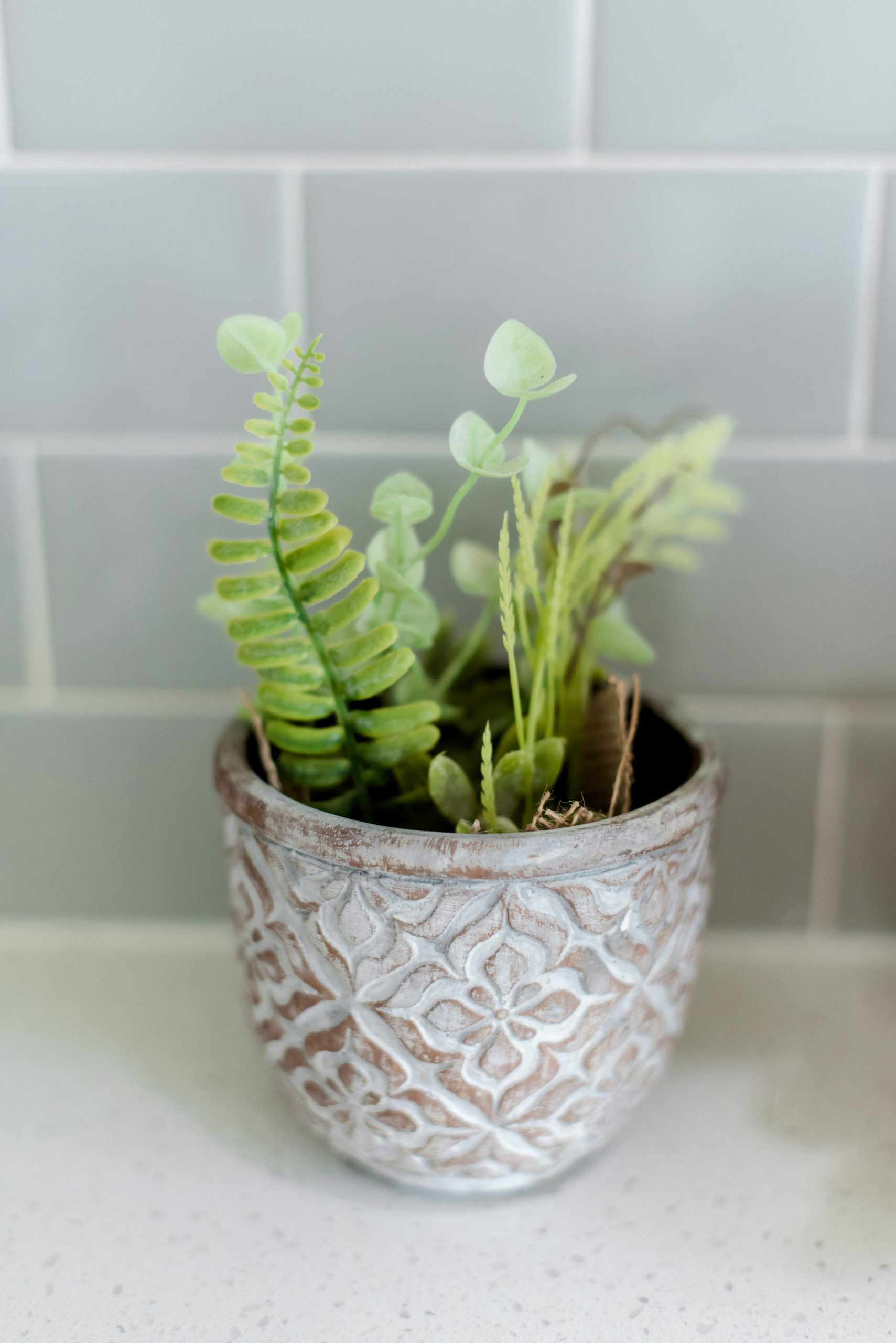 small vase greenery