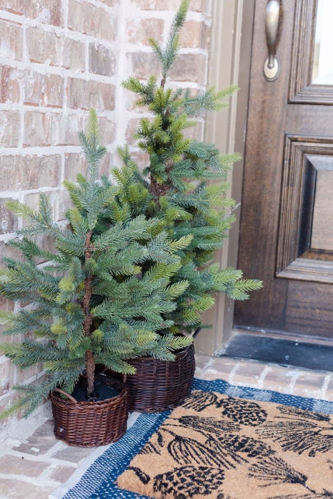 mini Christmas tree styled to add interest to the space