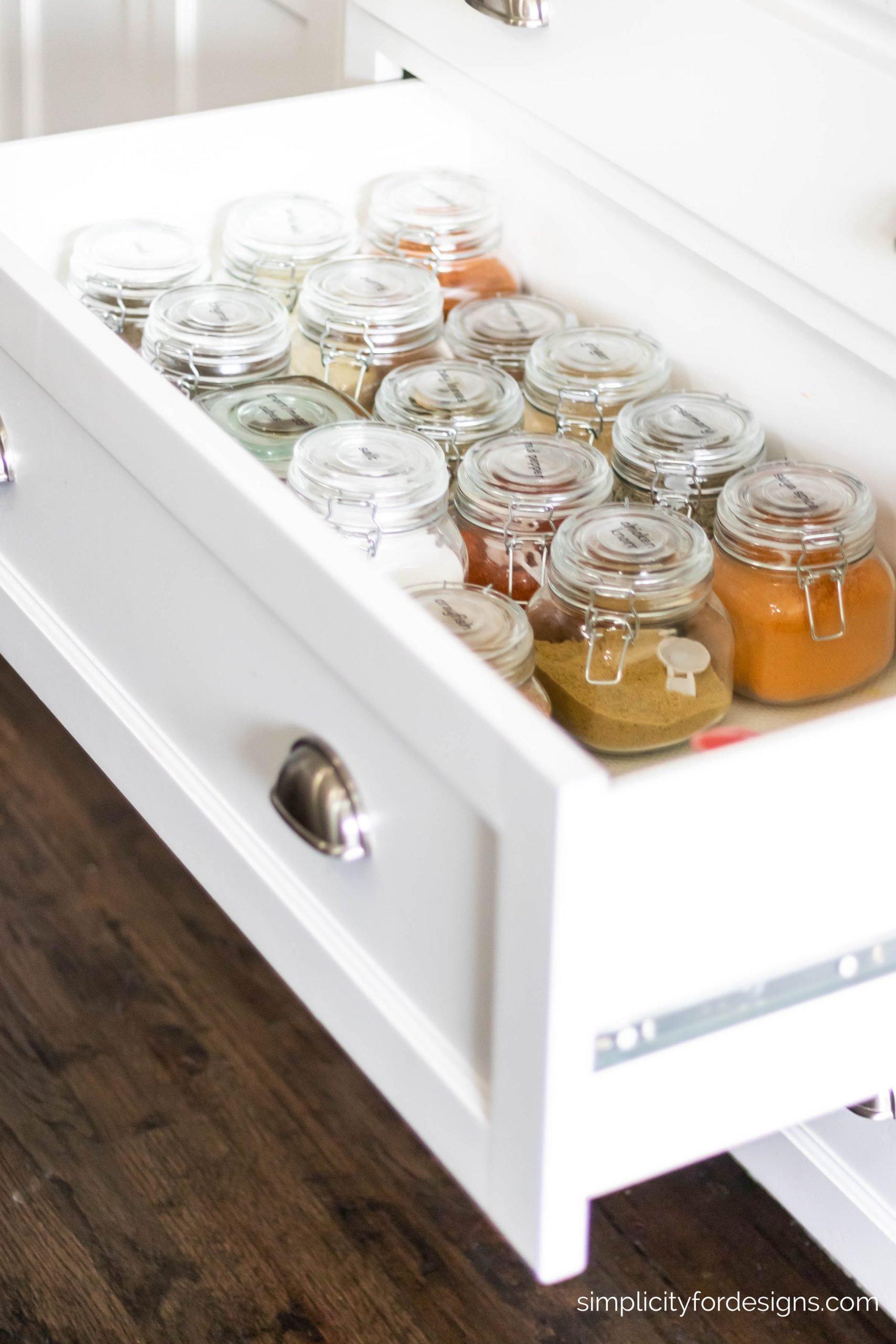 deep kitchen drawer for spice bottles