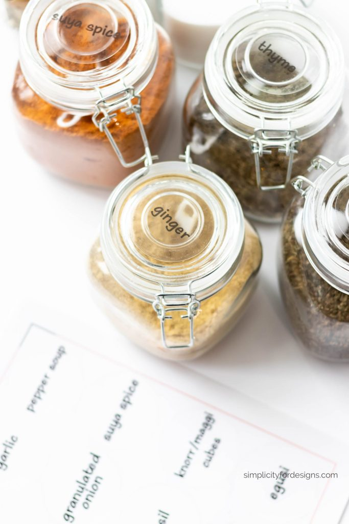 pantry and spice jar labels with your home printer