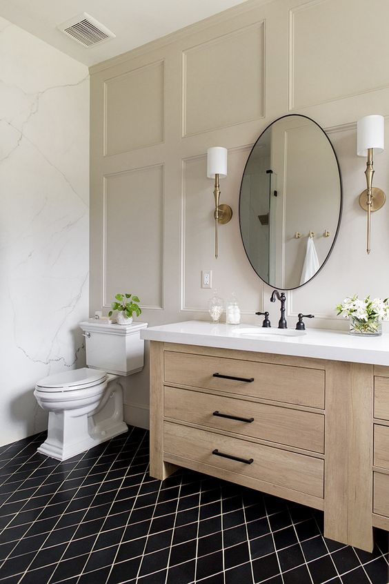 recessed panel as accent wall in the bathroom