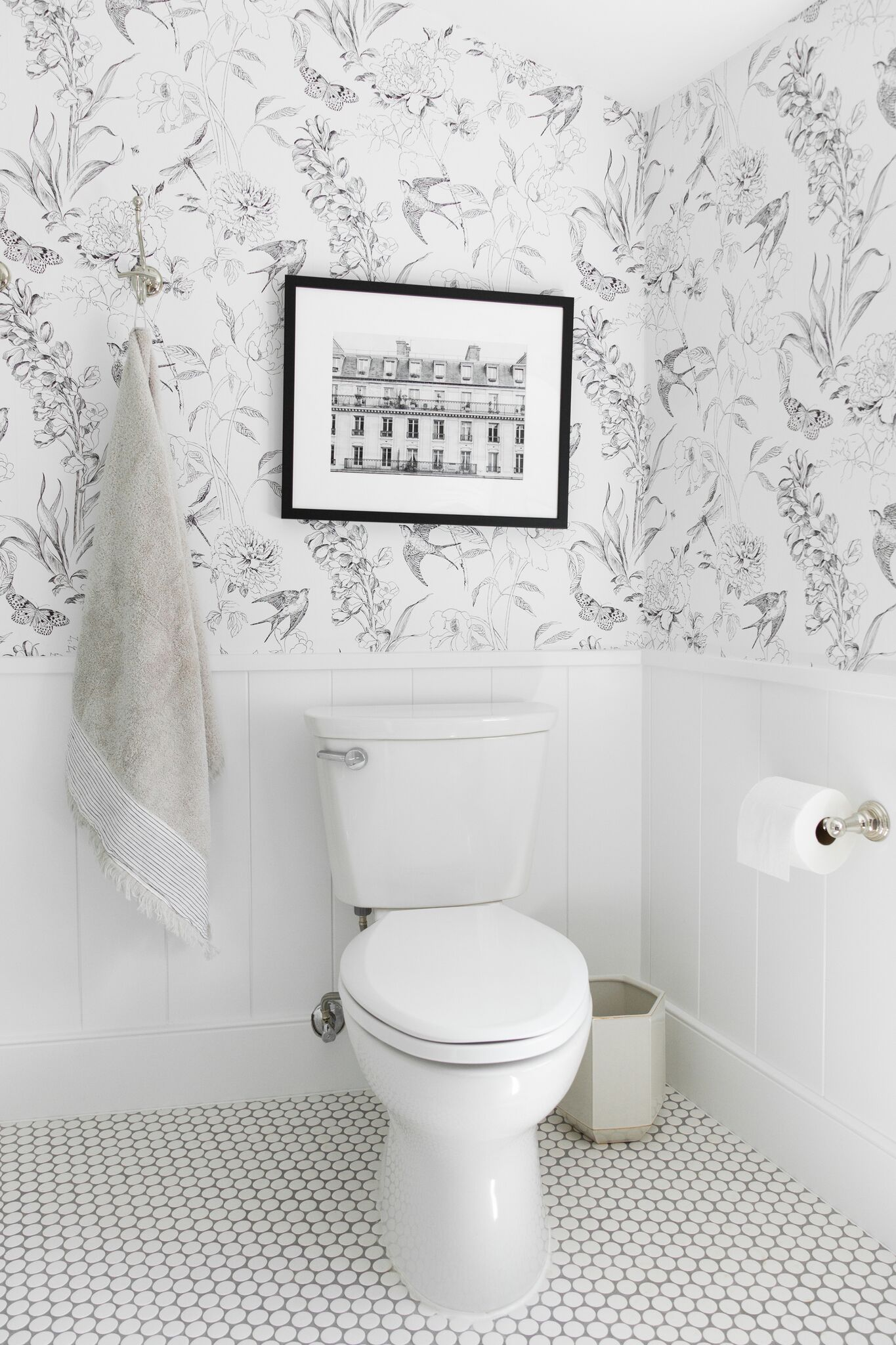 wallpaper and shiplap bathroom