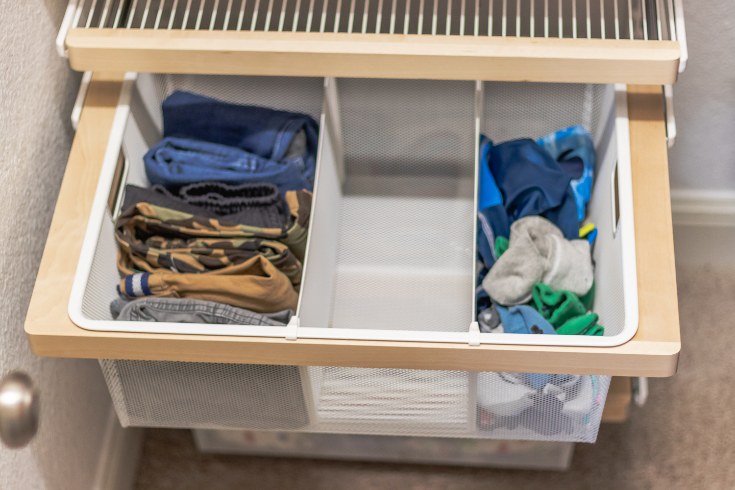 Elfa closet system - drawer dividers