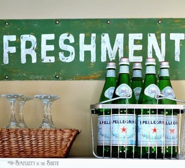 Refreshments sign tutorial- Pottery Barn Knock Off