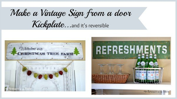 Vintage signs made from a door kick plate.