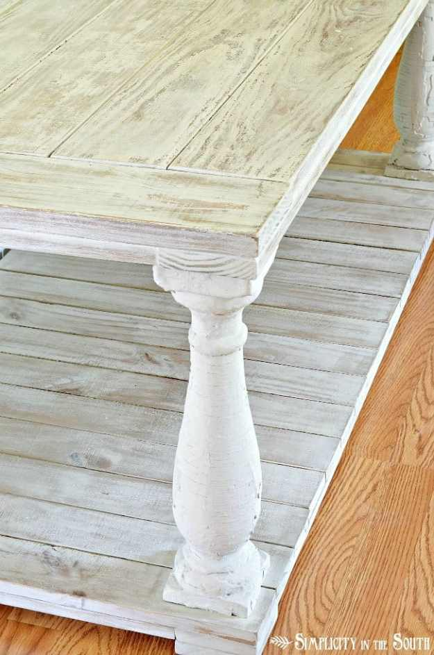 Distressed paint finish on a DIY baluster coffee table