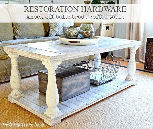 Restoration Hardware knock off balustrade coffee table.