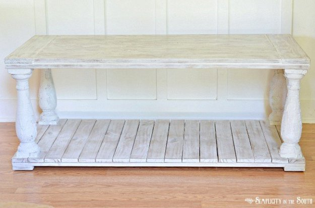 Restoration Hardware knock off salvaged wood baluster coffee table.