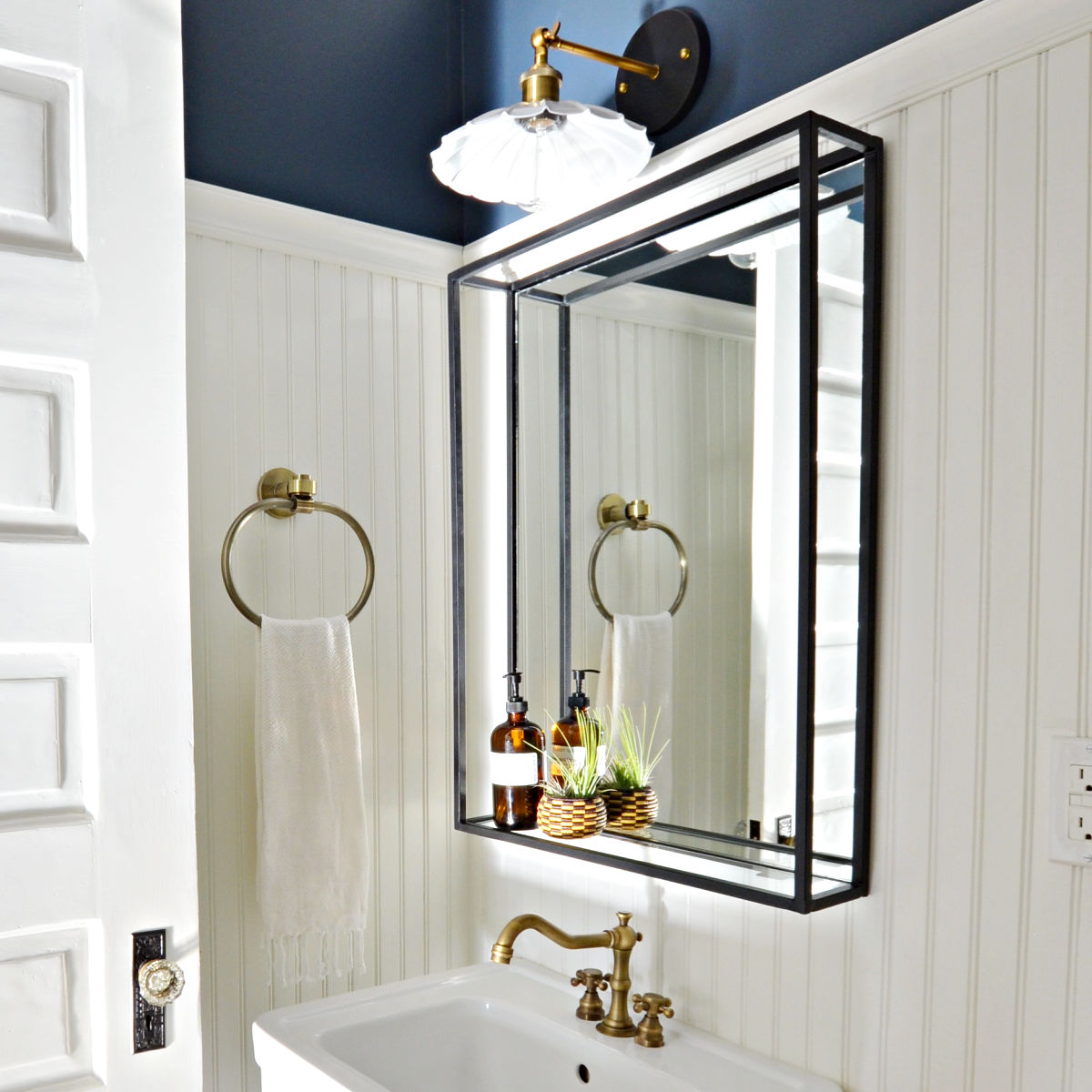 Modern Industrial Black Steel Metal Framed Bathroom Mirror With A Shelf Custom Handmade To Order Simplicity In The South