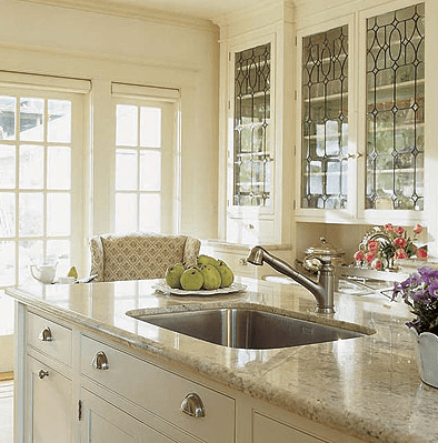 kitchen glass cabinets how to reface designer kitchens front simplified bee in this soft cream the upper showcase decorative stained i am a fan of mixing old with new and love world