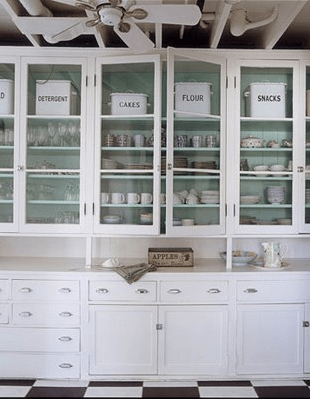 kitchen glass cabinets portable cart designer kitchens front simplified bee here is another example of with a splash color notice that all the items on display are in neutral white or