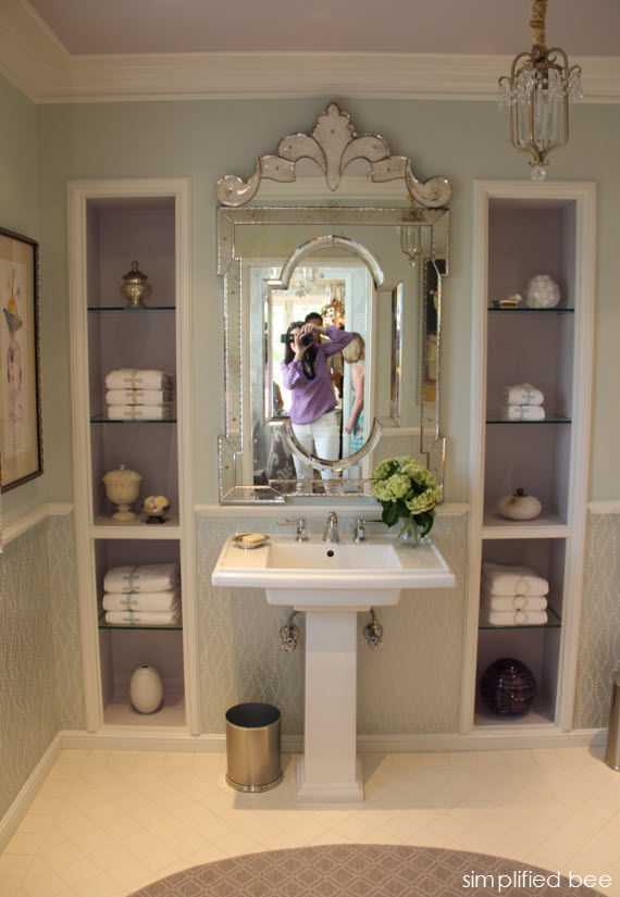 lavender bathroom with Venetian mirror  Simplified Bee