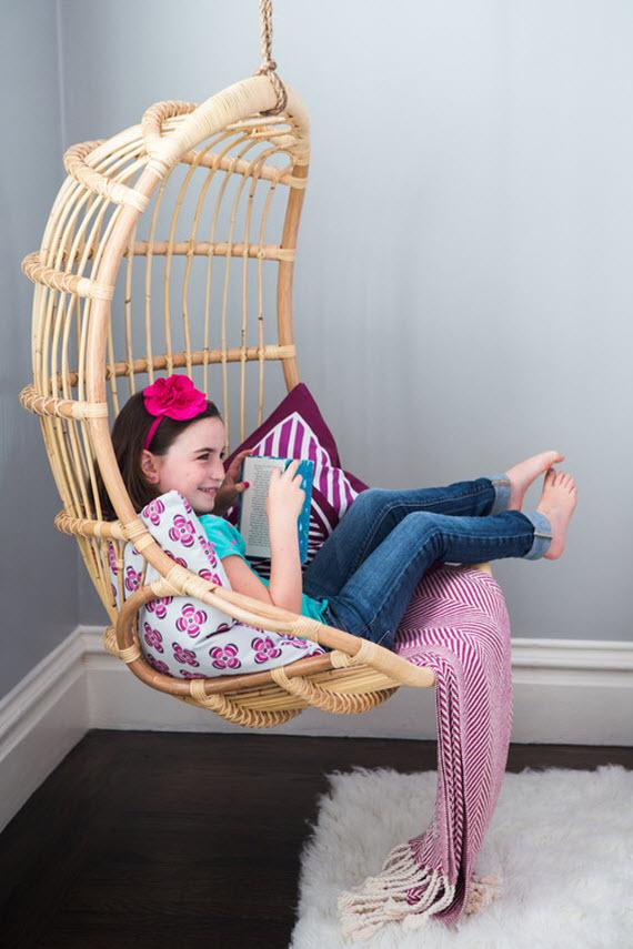 rattan hanging chair  girls bedroom  Simplified Bee