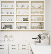 open-shelves-using-existing-cabinets-kitchen - Simplified Bee
