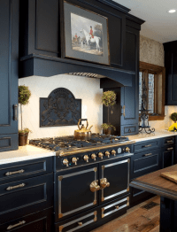 black kitchen cabinets by Wood-Mode - Simplified Bee