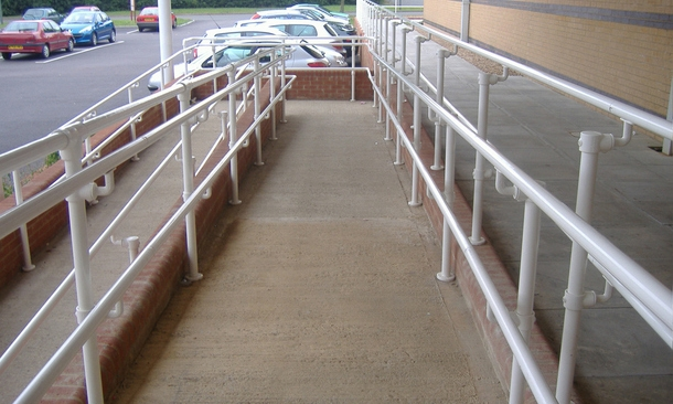Handicap Railing For Ramps And Stairs Fully Ada Compliant   Handicap Handrails For Stairs   Grab Bars   Deck Railing   Stainless Steel   Ada Compliant   Wheelchair Ramp