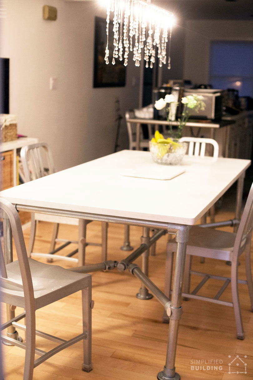 DIY Quartz Dining Table Built with Pipe and Kee Klamp