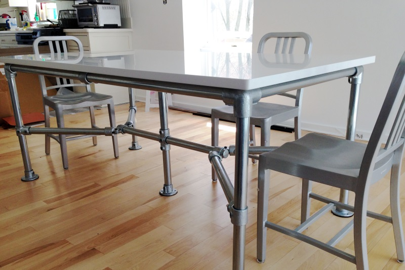 build kitchen table black cabinets diy quartz dining built with pipe and kee klamp simplified