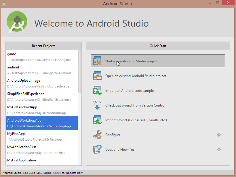 new android studio project