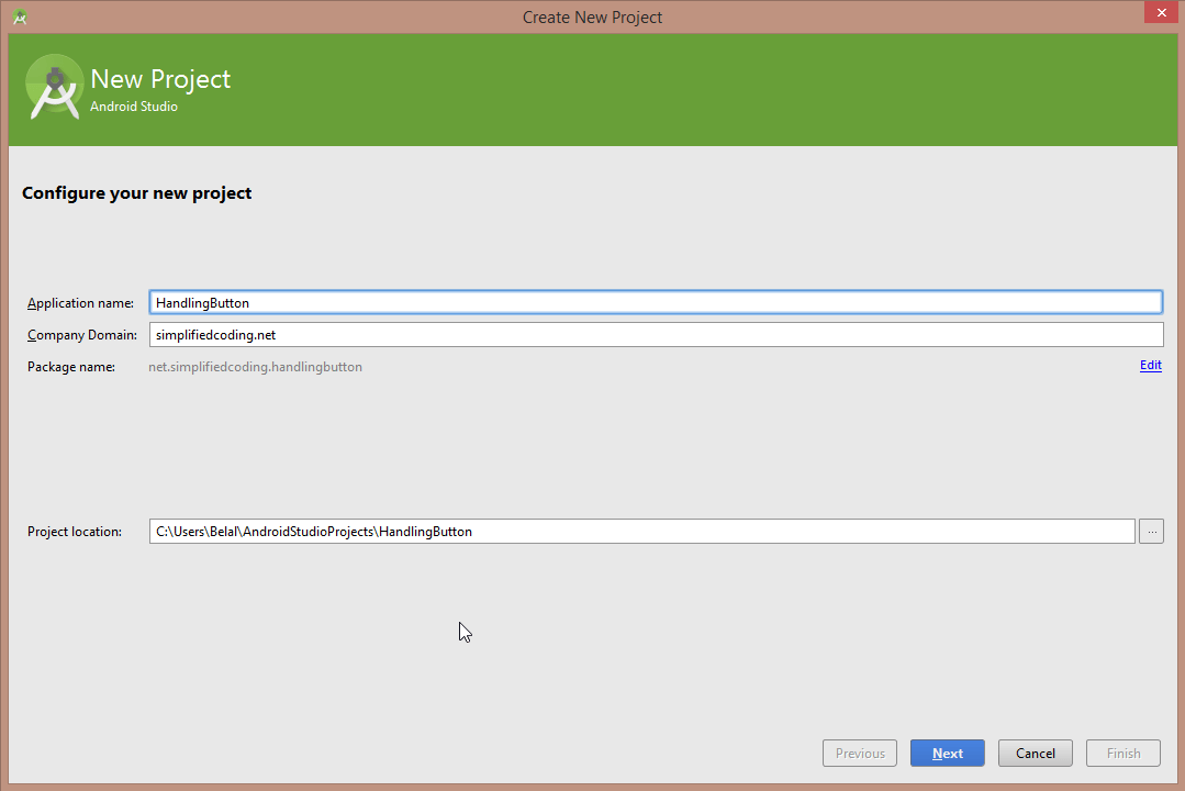 new project android studio