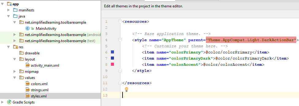 changing theme in styles.xml