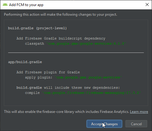 Adding FCM Dependencies