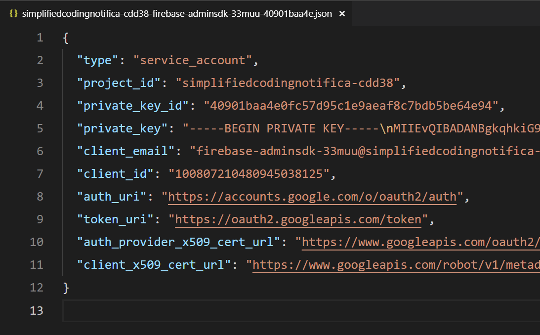 Service Account JSON