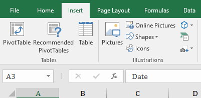 How to insert a pivot table