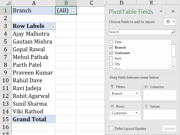 using filter label in pivot table