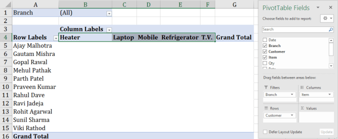 using column label in pivot table