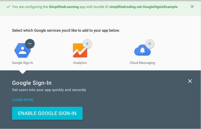 enable google signin