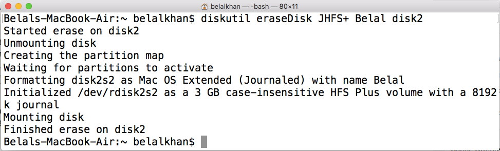 how to format usb on mac from terminal