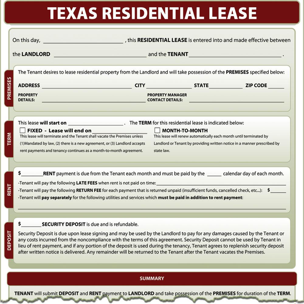 Texas Rental Agreement Form
