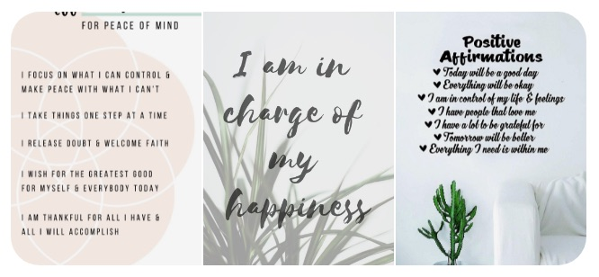 my affirmation section from pinterest