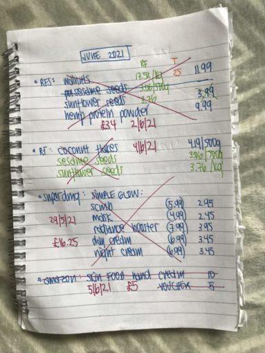 notebook with monthly shopping plan.