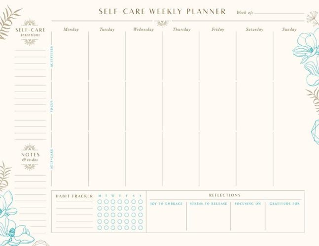 self-care weekly planner from isight edition