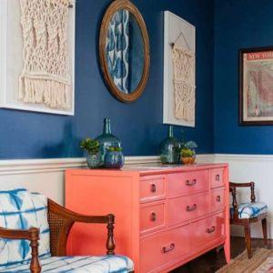 blue wall coral dresser art on wall