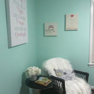 mint green walls furry chair
