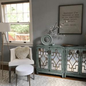 grey walls white chair green bar