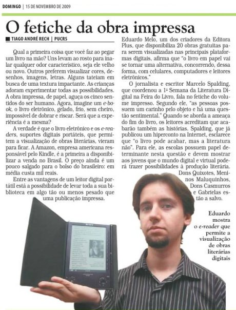 O fetiche da obra impressa - Correio do Povo - novembro/2009
