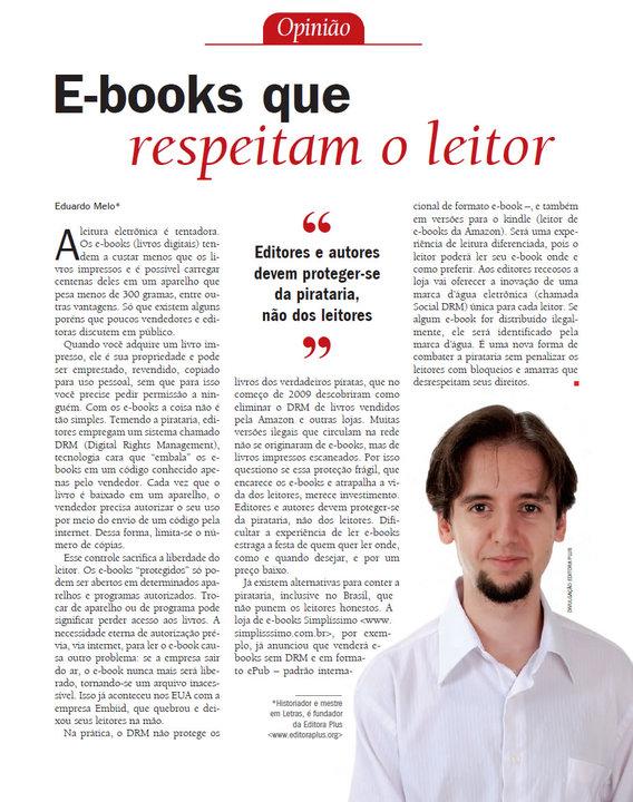 E-books que respeitam o leitor - Revista do IDEC - Instituo de Defesa do Consumidor - Abril/2010