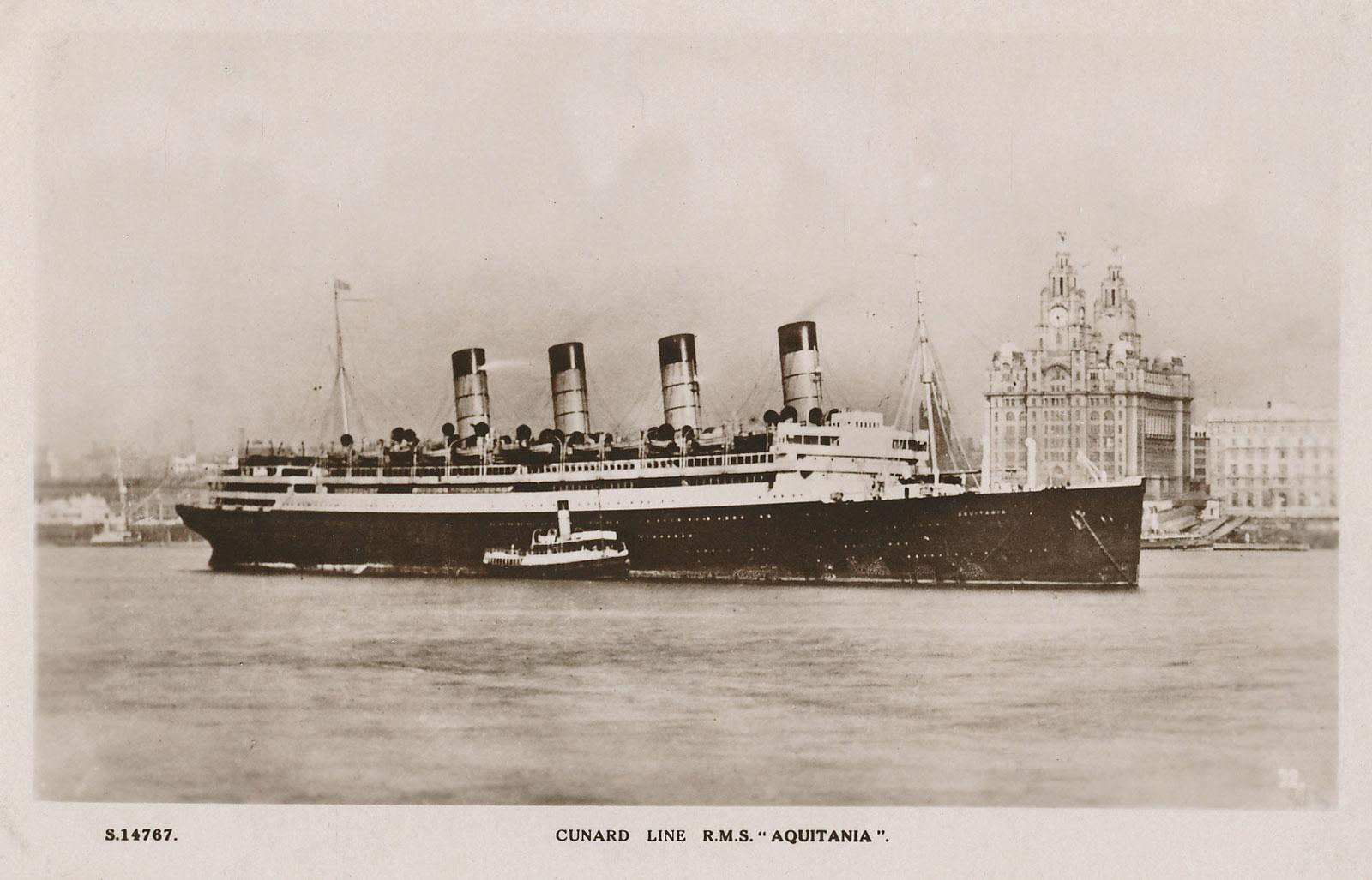Aquitania  Cunard Line  Ocean Liner Postcards