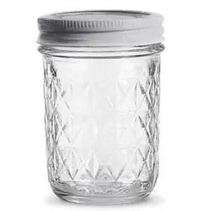 Empty 8 ounce jelly jar